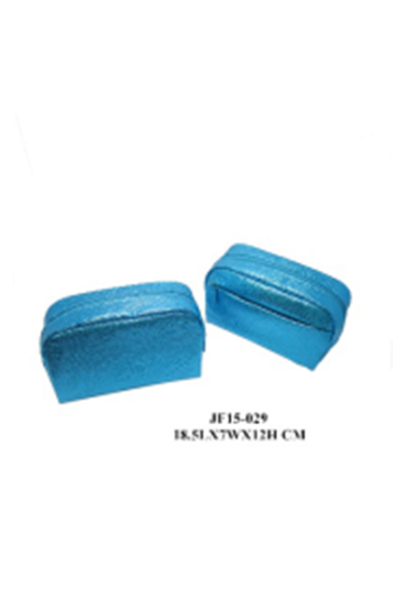 Cheap Wholesale Blue PU Shiny Cosmetic Bag Makeup Cosmetic Bag