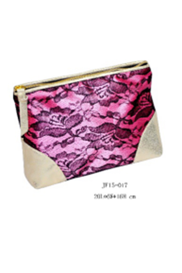 Red Lace PU Leather Cosmetics Packing Clutch Zipper Pouch for Women
