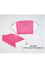Hot Pink PU Cosmetics Packing Zipper Clutch Pouch with Metal Logo