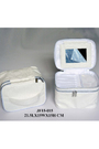 White PU Bag Customized Good Quality PU Ladies Cosmetic Bag with Mirror