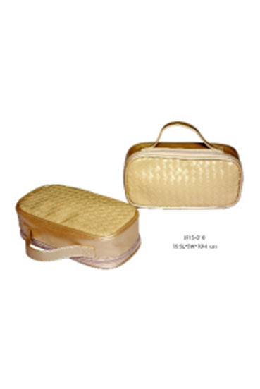 Portable Woven Pattern PU Cosmetic Bag Makeup Zipper Case Toiletry Bag