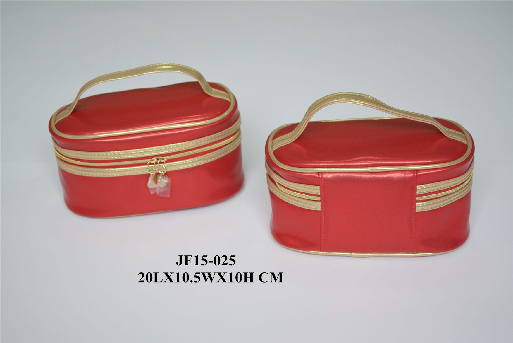 Red PU Makeup Bag with Top Handle
