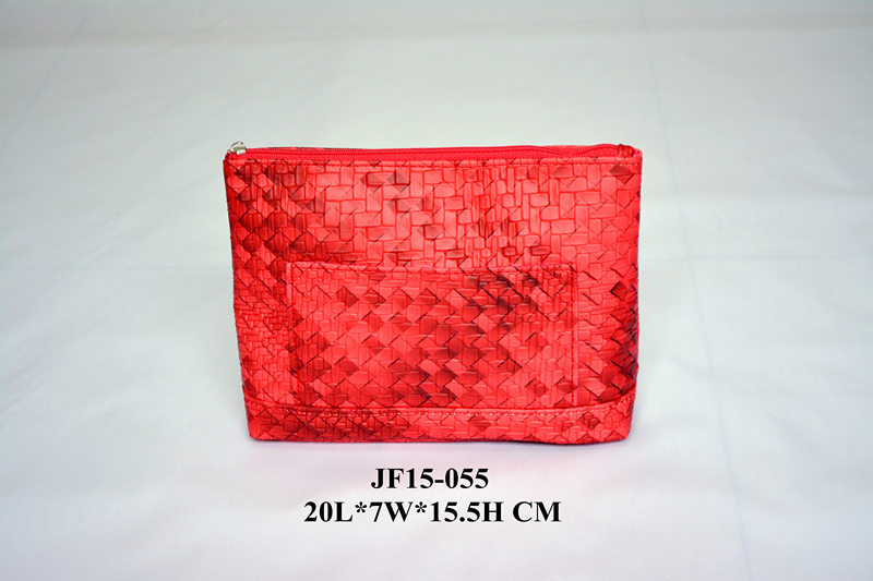 Red Color Woven PU Zipper Cosmetic Bag w Front Pocket