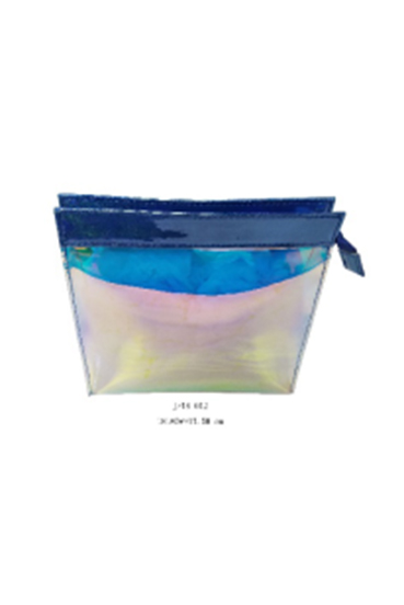 Shiny Biodegradable Holographic TPU Cosmetic Bag with PU Trim