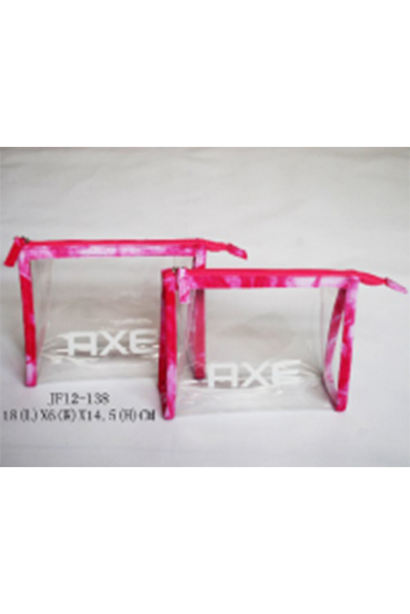 Clear EVA Cosmetics Promotional Packing Bag with Red Binding