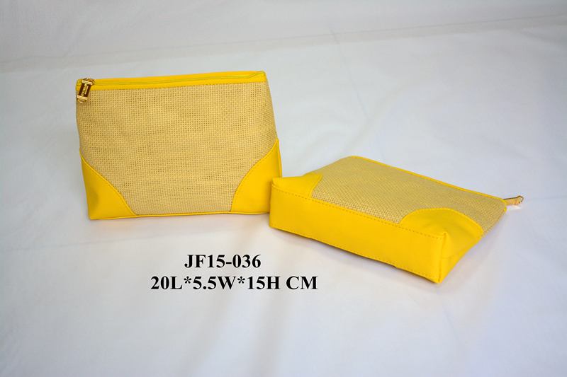 Yellow PP Straw Cosmetic Bag for Promotional Use w/ Zipper Closure