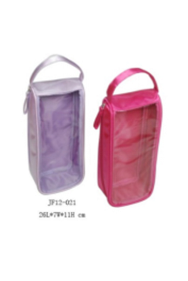Satin and Front PVC Window Packaging Bag with Handle and Side Zipper