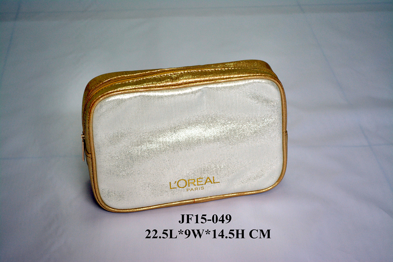Shiny PU Square Shape Wash Bag w/ Zipper along 3 Sides
