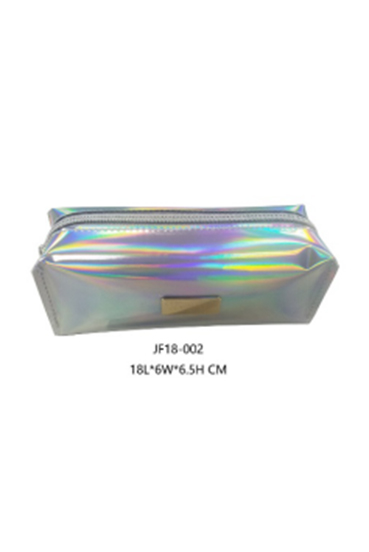 2018 Hot Hopular Metal Logo Holographic Plastic PU Cosmetic Bag